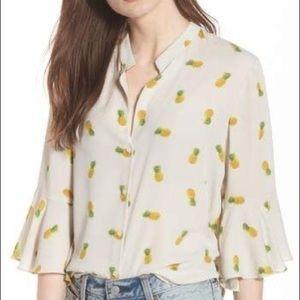 LUSH pineapple print bell sleeve blouse
